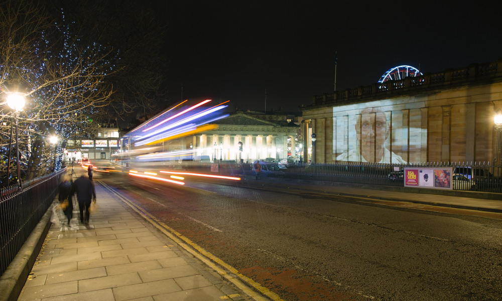 Outdoor Projection on National Gallery of Scotland, December 2014. Photo by Pete Dibdin