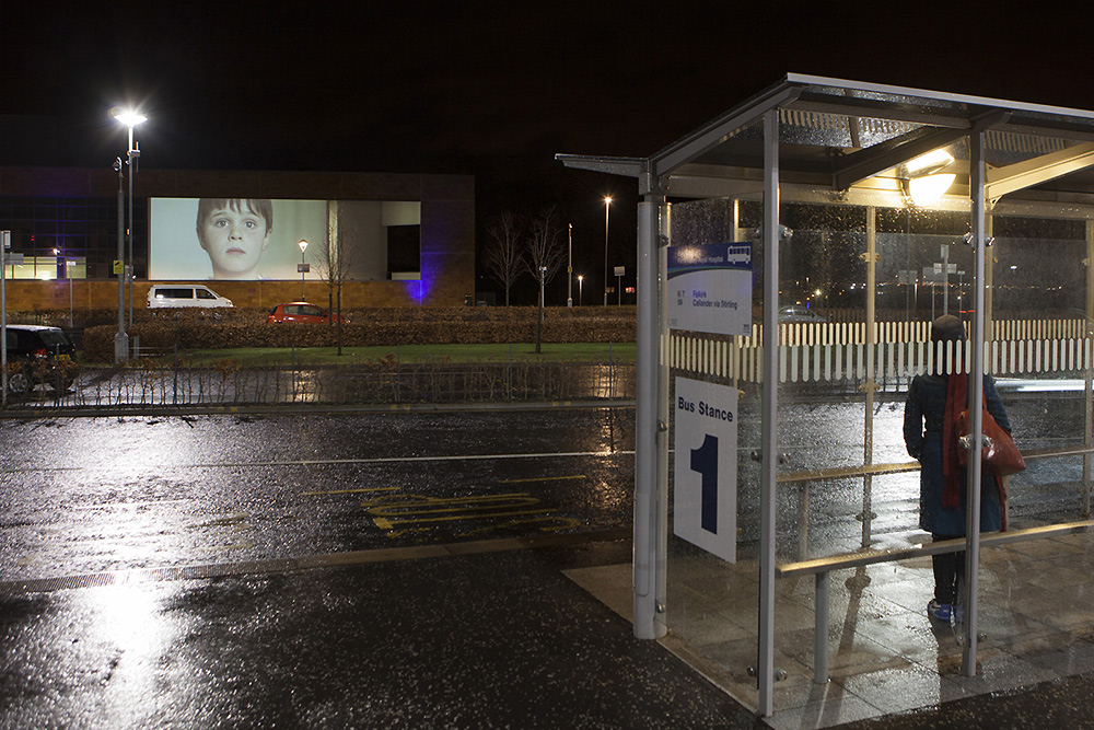 Outdoor Projection on NHS Forth Valley. Photo by Peter Dibdin